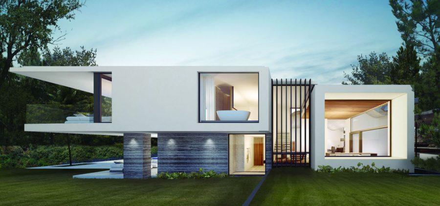 villa saint tropez avec fenêtre coulissante minimaliste Hyline