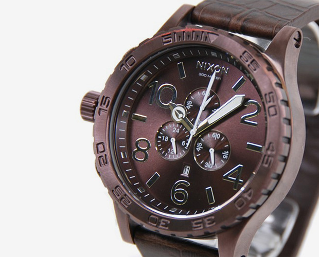 nixon 51 30 chrono leather all brown 1 Nixon The 51 30 Chrono Leather All Brown