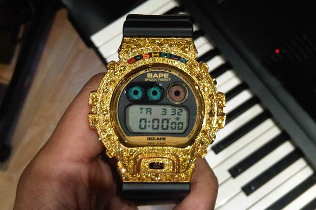 pharrell custom bape casio gshock dw 6900 Pharrell Williams Custom Bape x Casio G Shock DW 6900