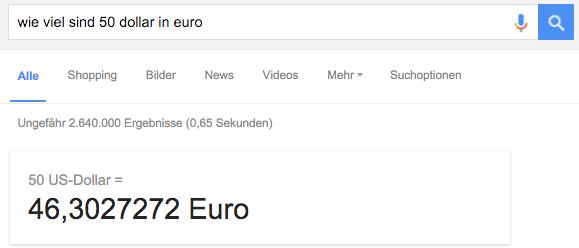 Google Suchergebnis Währungsrechner