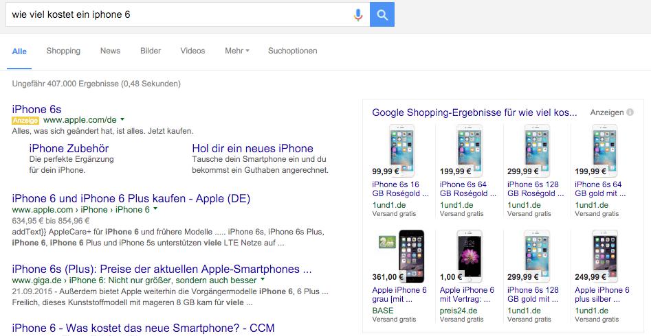 Google Shopping Ergebnis für iPhone