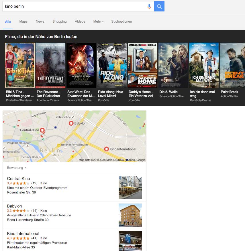 "Google-Suche nach Keyword ""Kino Berlin"""