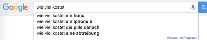 Google Suche Automatische Vervollständigung