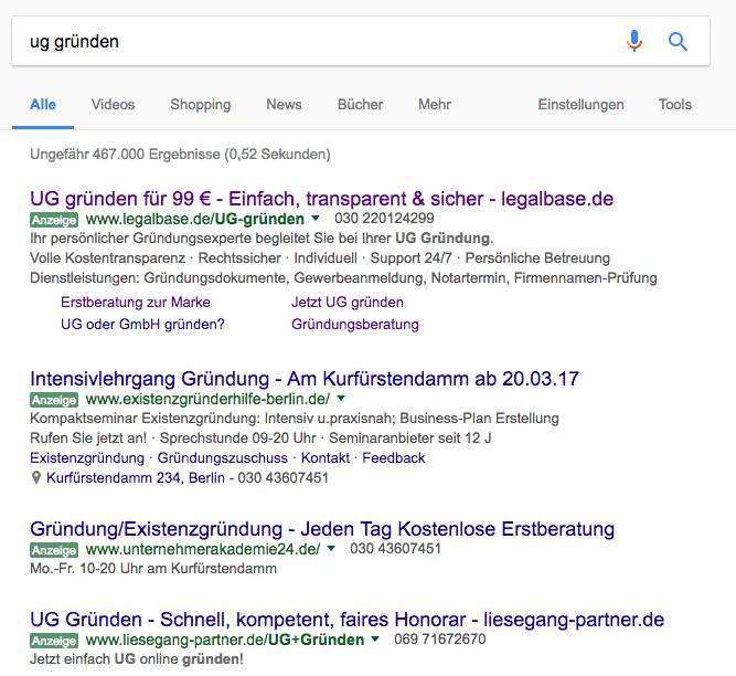"""Google Suchergebnisse zum Keyword """"ug gründen"""" vor der Umstellung"""