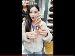 Asian girl DEEP THROATS ice