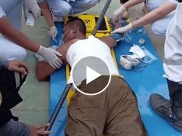 Man Impaled on Iron Rod After Falling