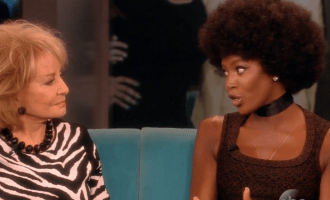 Naomi Campbell afro on The View