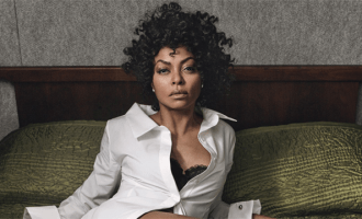 """Taraji P. Henson Hidden Figures """"I'm a pretty good actress. You could say that, right? Well, to play Katherine Johnson, a mathematician who figured out a way to get NASA astronauts into space, I had to be believable as a math expert—and I failed math in college. Precalculus looked like Chinese to me. Even with two tutors, I still failed. So God has an incredible sense of humor, because now I am playing a mathematician! Even on set, they would have a professor there to try and teach me. I said, 'Show me what I have to write and I'll memorize it, because I'm not gonna get it.' Take that, math! I won: I became an actress."""" Monse shirt; La Perla bra; Forevermark by Natalie K earrings; Jimmy Choo shoes. Photographs by Craig McDean. Styled by Edward Enninful. Hair by Orlando Pita for Orlando Pita Play; makeup by Peter Philips for Dior. Manicures by Michelle Saunders for Essie at Forward Artists. Set design by Piers Hanmer."""