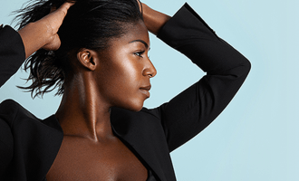 African American woman with relaxed hair