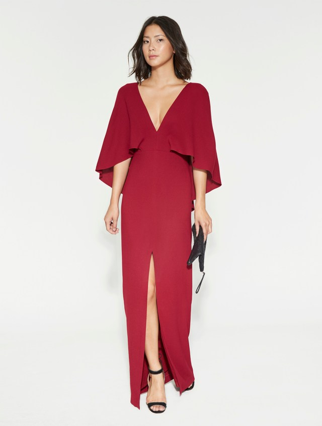 Halston Heritage Flowy Crepe Gown