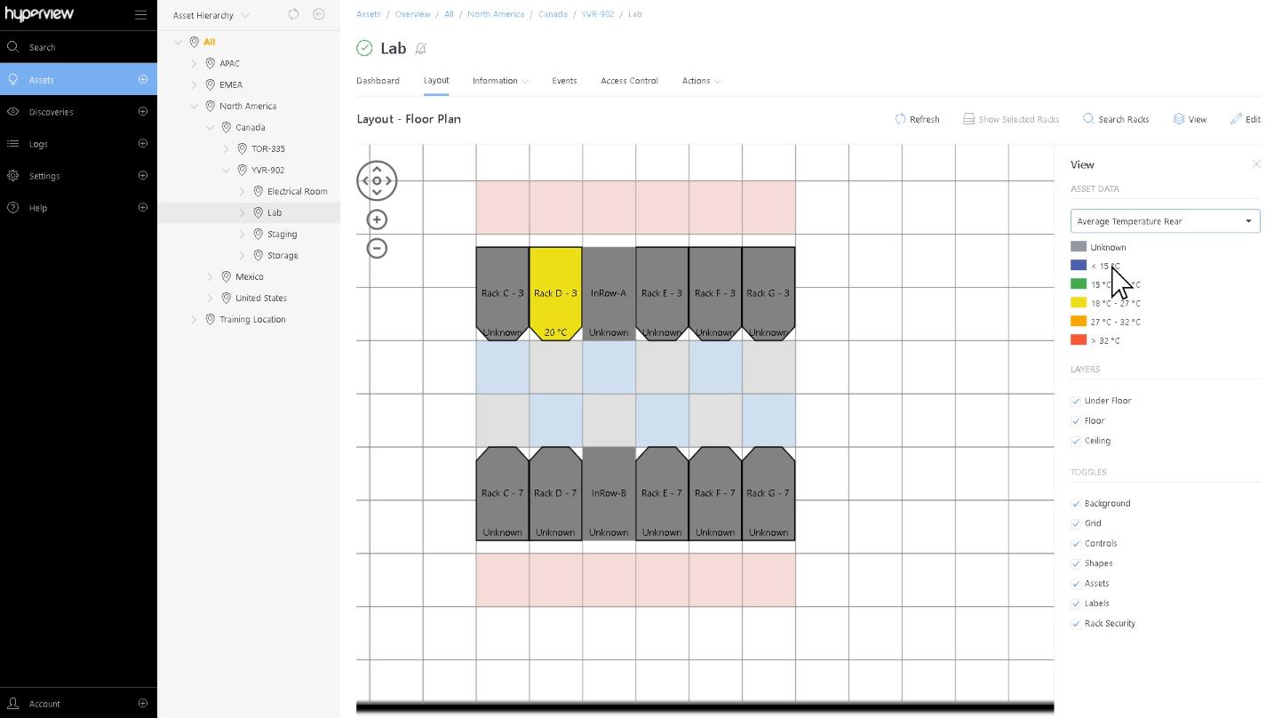 Floor plan with temperature