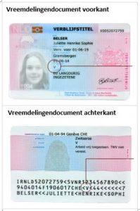 Eisen aan een vreemdelingen document