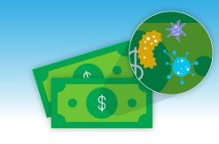 Germs or virus on money