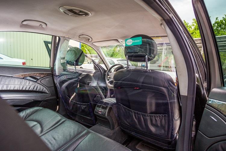 Driver bubble shield in taxi
