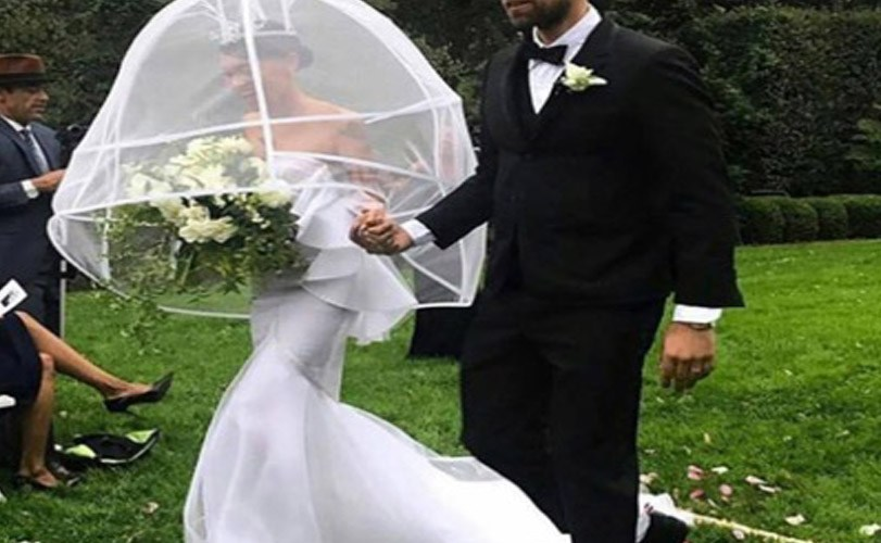 Woman wears unique veil for wedding