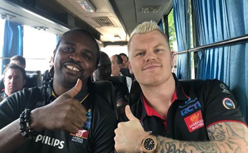 Kanu Nwankwo shares photos as he arrives Indonesia with other EPL Legends