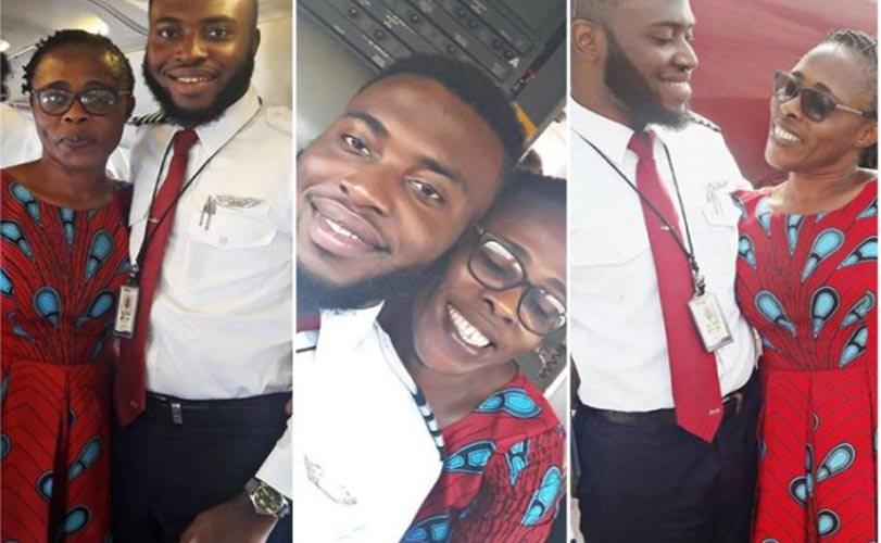 Photos: Nigerian university dropout who became a pilot flies mum