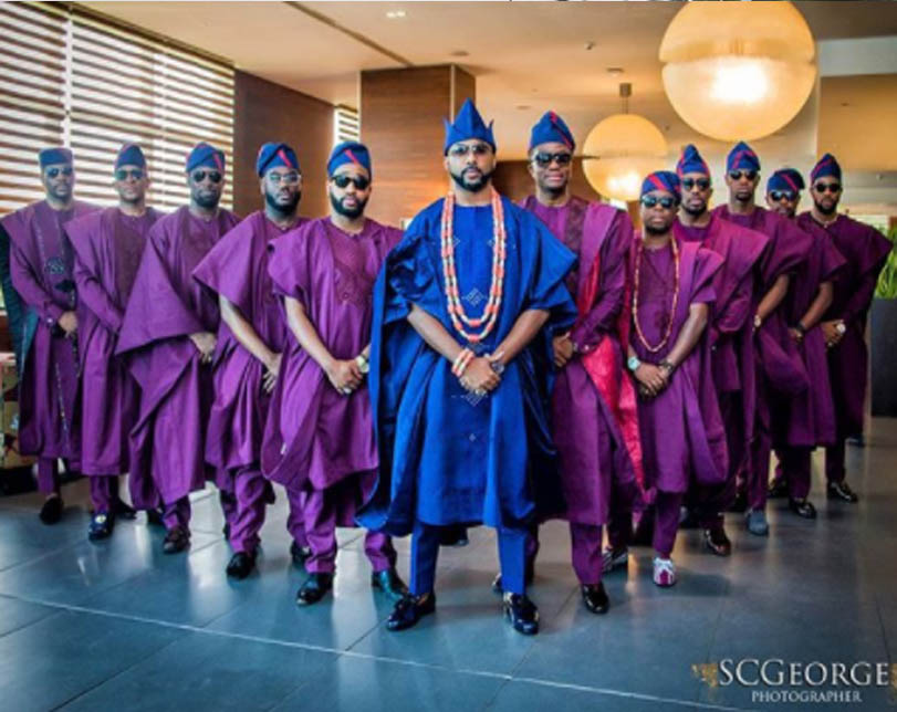 Photos: Banky W and his groomsmen step out for his traditional wedding today