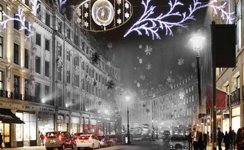 Christmas in London then and now: Photographer blends retro festive images into present-day pictures