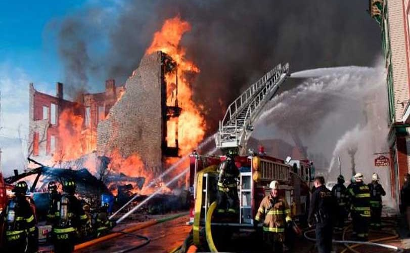 Man tries to mimic a TV stunt but ends up setting off a huge fire that damaged 32 buildings, displaced at least 18 people