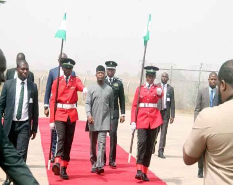 Photos: Vice President Yemi Osinbajo, Ministers, received Alex Ekwueme's body at the airport in Abuja