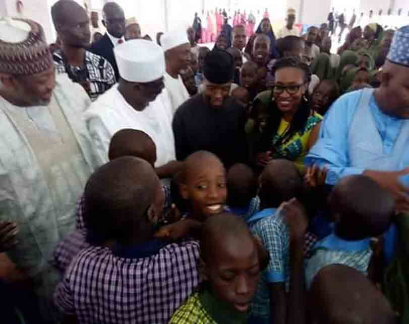 Photos: Osinbajo, Governor Shettima visit children orphaned by Boko Haram sect