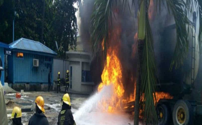 Tanker Explosion Causes Fire Outbreak Around Ecobank Head Office In Victoria Island (Photos)