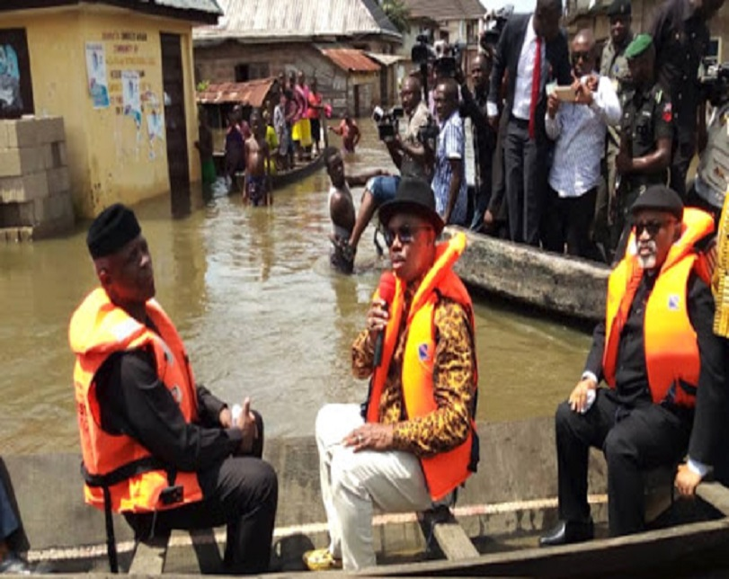 See How Streets Turn River As Osinbajo visits Anambra, & Delta Flooded Areas (Video)