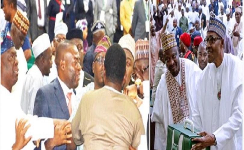 Drama, protests as Buhari presents 2019 budget to National Assembly