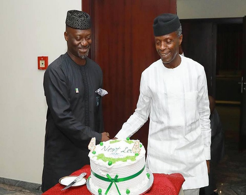 Vice President, Yemi Osinbajo Celebrates Election Victory With His Staff In Aso Rock (Photos)