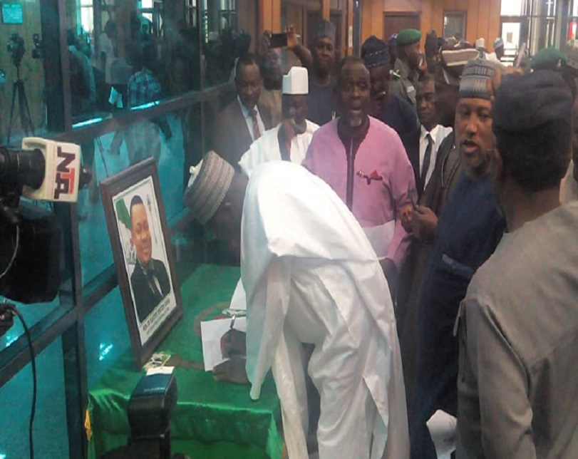 PHOTOS: Dogara, other Reps sign condolence register opened for slain Olatoye