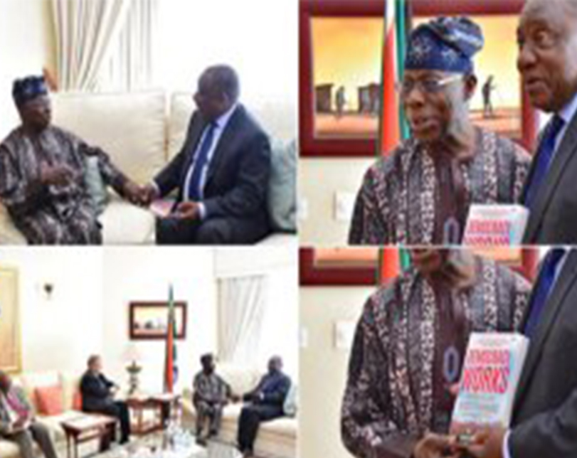 Obasanjo visits South Africa's Ramaphosa, presents latest book