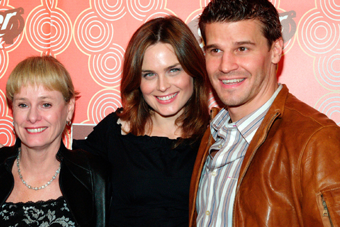 Kathy Reichs, David Boreanaz ed Emily Deschanel agli upfronts della Fox 2005
