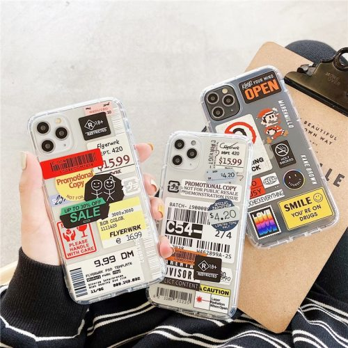 Retro Bar Code Label Soft Airbag TPU Phone Cover Case For iPhone 12 11 X 7 8