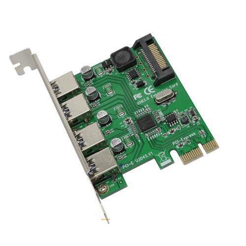 PCI-E X1 to 4 Port USB 3.0 HUB Expansion Card Adapter SATA Power for Desktop PC