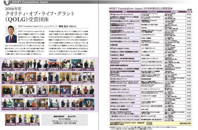 東京の学生と長野の子どもたちの交流会がMDRT2016年度 クオリティ・オブ・ライフ・グラント (QOLG)に選ばれました。