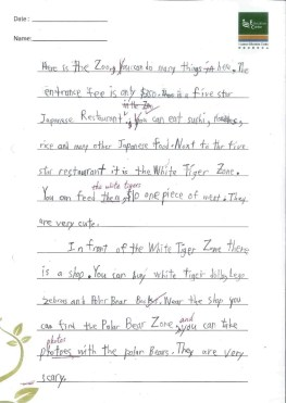 This student, however, has improved substantially in the past three months. He is now able to write longer stories and express his creative ideas in writing.