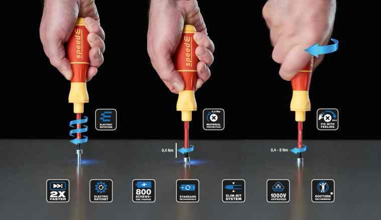 Drei Schritte in einer Bewegung: Erst temporeich elektrisch drehen bis zur Materialschutzfunktion von 0,4Nm, dann manuell, gefühlvoll mit elektrischer Ratschen-Funktion festziehen. (Bild: Wiha Werkzeuge GmbH)