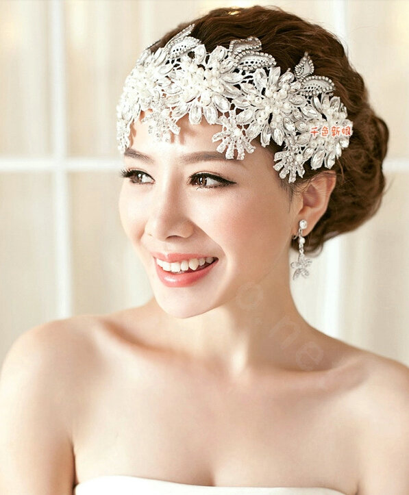 Buy Wholesale Luxury Pearl Crystal Lace Flower Hairwear