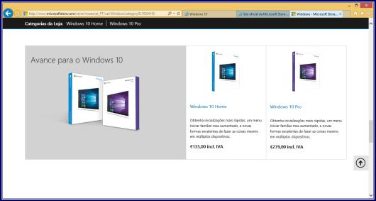 Preços da loja online Microsoft Portugal em euros (€)