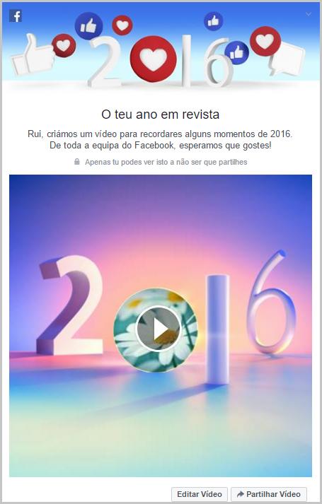 O teu ano em revista 2016 no Facebook