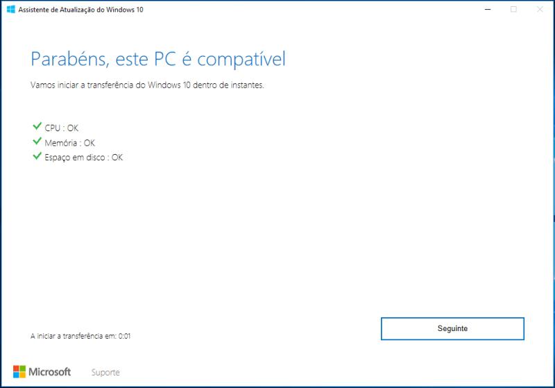 Assistente atualização Windows 10