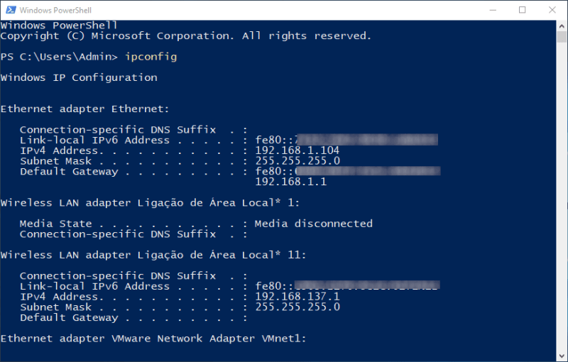 PowerShell - ipconfig