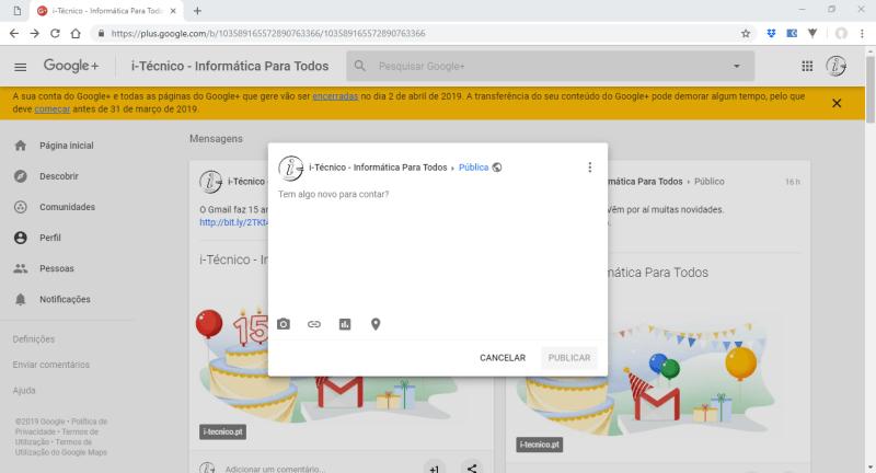 Google+ - Publicação de Post