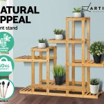 Artiss Outdoor Indoor Plant Stand Garden Bamboo Flower Pots Shelf Storage Rack Ebay
