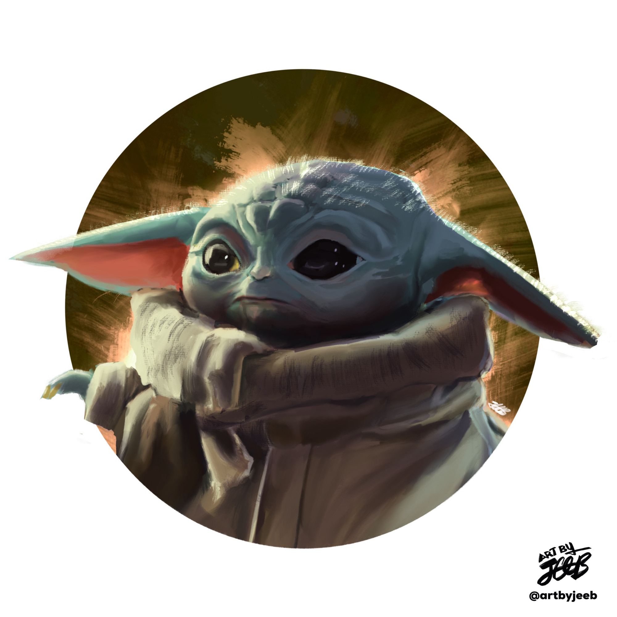 Digital painting of Baby Yoda