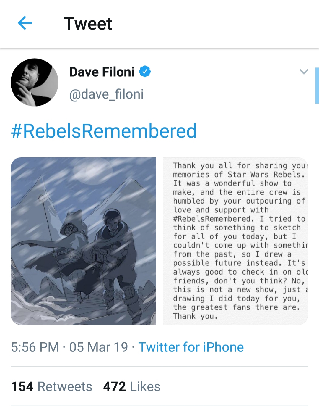 #RebelsRemembered Man I love Dave Filoni. Would you guys be down for an Ahsoka Sabine led post ROTJ show on the Disney s...