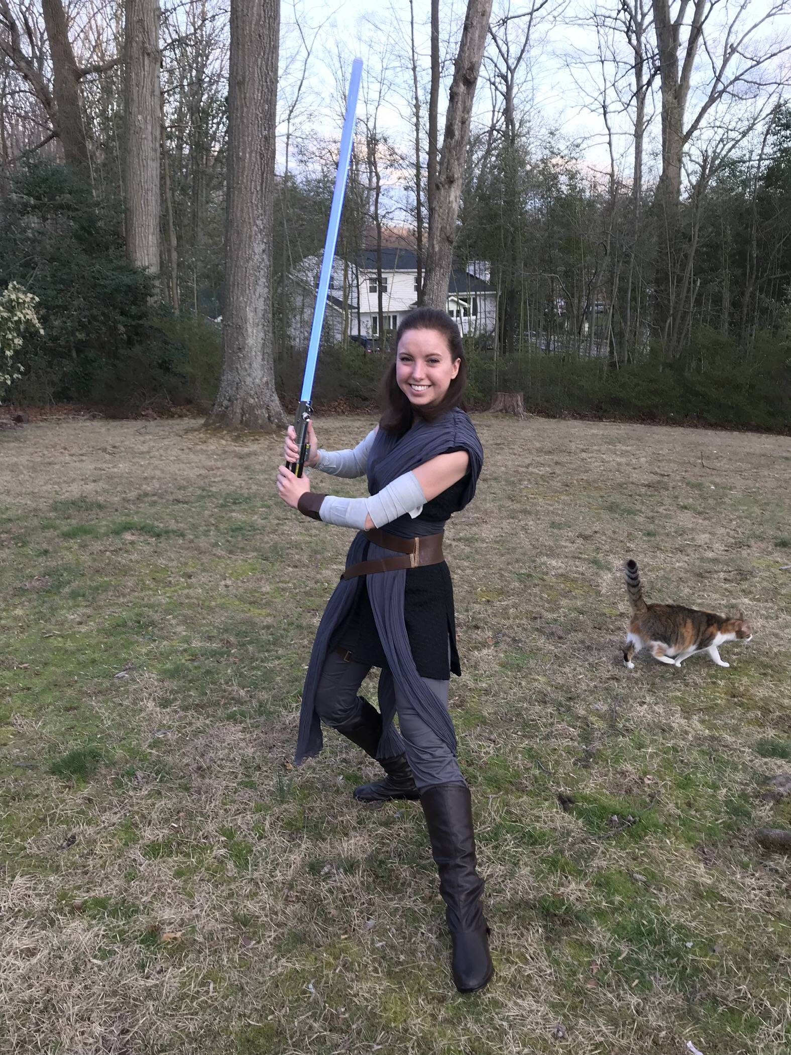 For May the Fourth, I present my completed Rey cosplay - with bonus cat!