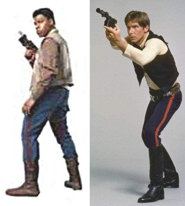 [EP9] Who has Corellian Bloodstripes on his trousers, wears a vest and...is NOT Han Solo?