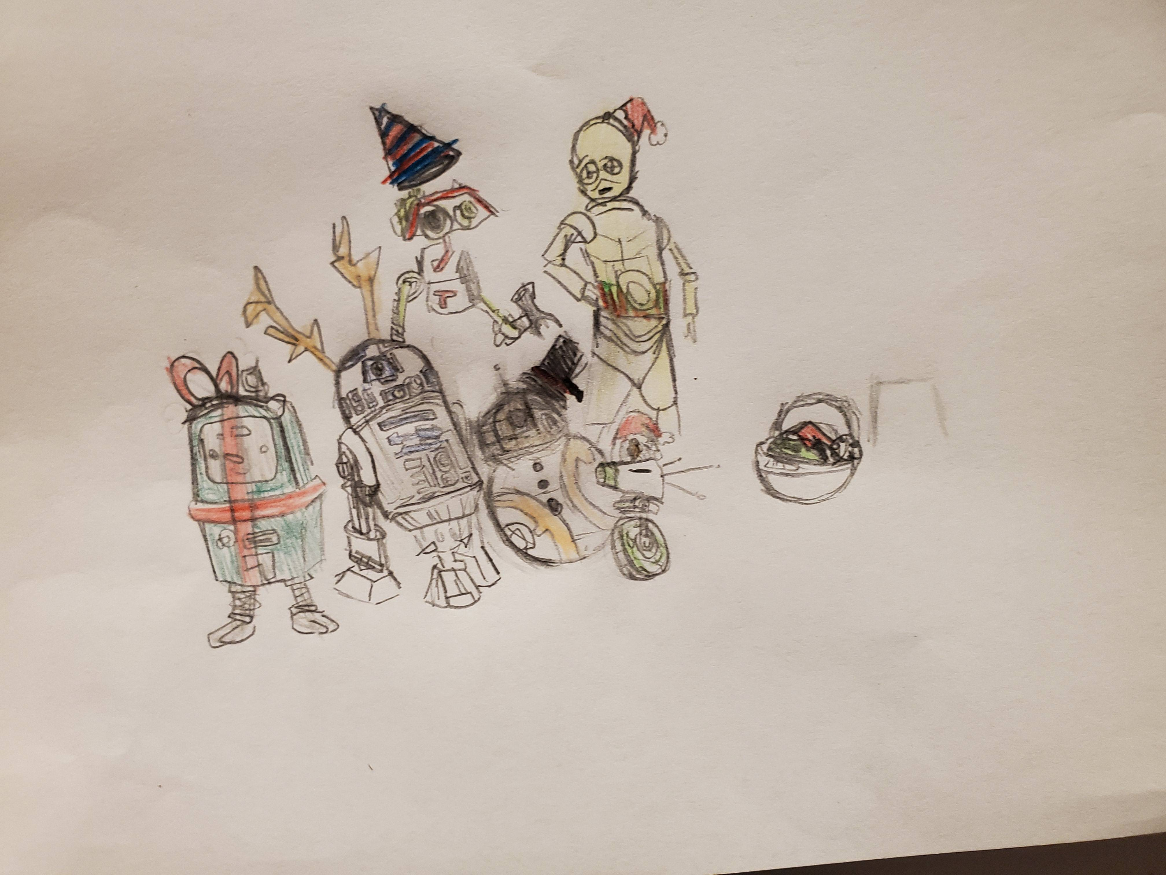 My son\'s star wars christmas picture he drew for me for xmas